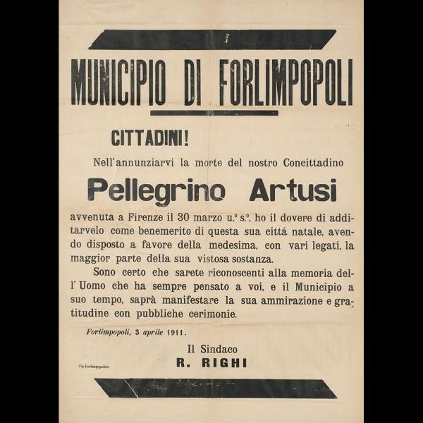 Manifesto  Morte Pellegrino Artusi
