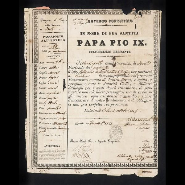 Passaporto di Papa Pio IX